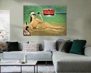 relaxte vrouw op het strand van Frans Klijzen