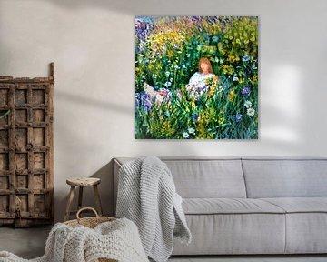 Groen groen bloem bloem van Frans Klijzen