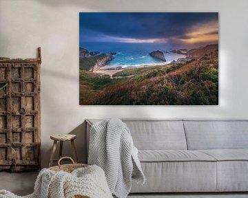Asturias Playa de Mexota Beach bij zonsopgang van Jean Claude Castor