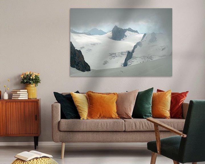 Sfeerimpressie: Bergbeklimmers in de Vallee Blanche van John Faber
