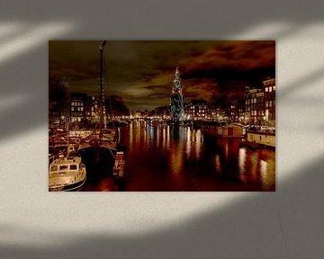 Montelbaanstoren by night van Foto Amsterdam / Peter Bartelings