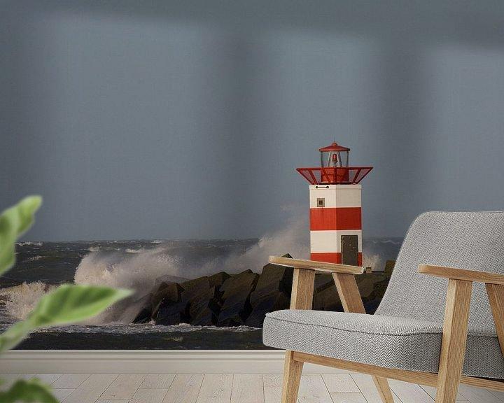 Beispiel fototapete: Leuchtturm in der Brandung von Simone Meijer