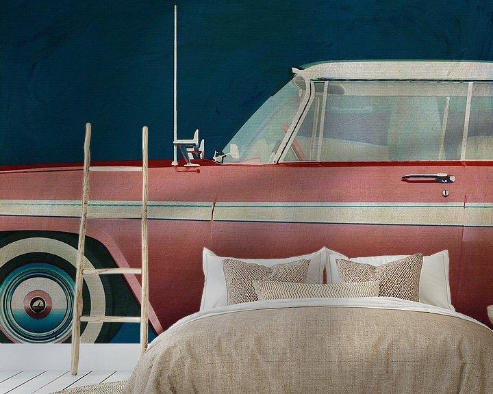 Sfeerimpressie behang: Plymouth Belvedere Sport Sedan 1957 van Jan Keteleer