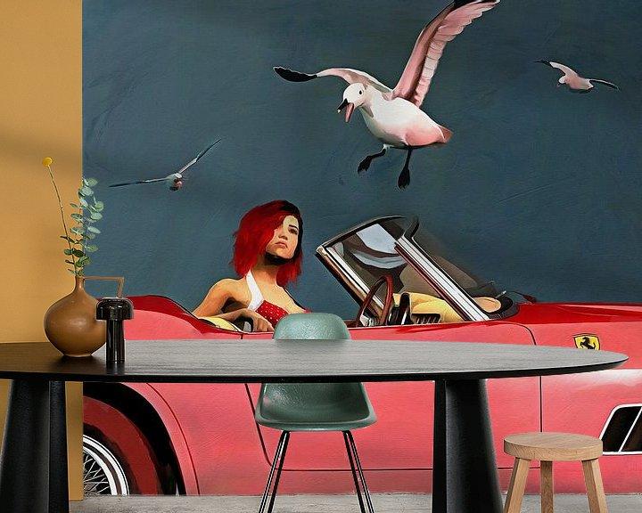 Sfeerimpressie behang: Ferrari 250GT Spyder Californië met rood geklede meid en meeuwen van Jan Keteleer