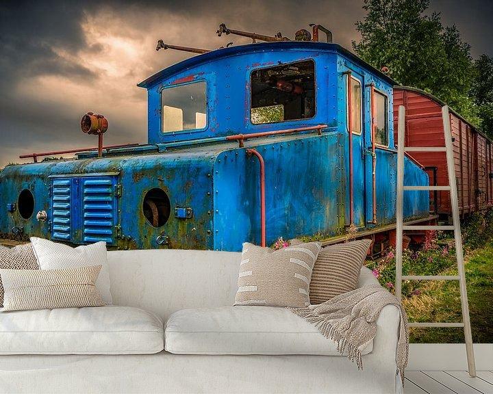 Beispiel fototapete: Zugsatz mit Lokomotive und Wagen oder Wagen von Atelier Liesjes