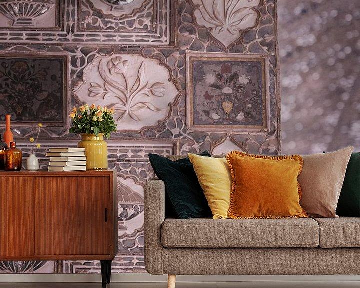 Sfeerimpressie behang: Mozaik in het Amber Fort van Jaipur. van Karel Ham