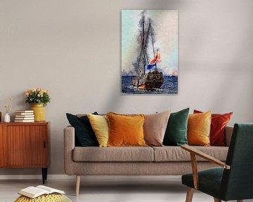 "Staatyacht ""De Utrecht"" auf der Oosterschelde (Kunst) von Art by Jeronimo"