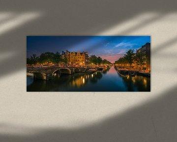 Panorama Amsterdam op het kruispunt van de Prinsengracht en de Brouwersgracht van Henk Meijer Photography