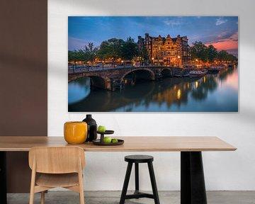 Amsterdam op het kruispunt van de Prinsengracht en de Brouwersgracht