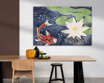 Koi-Karpfen mit Lotusblume von Natalie Bruns