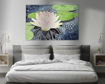 Fleur de lotus rose dans l'eau gazeuse sur Natalie Bruns