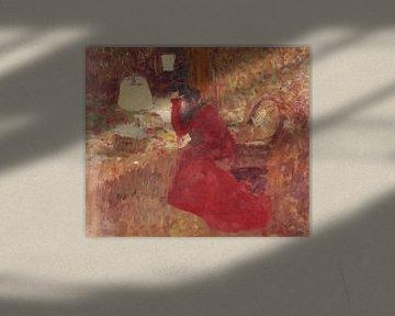 Frau in einem roten Kleid, oder J. R. gegen ein Fenster, Édouard Vuillard