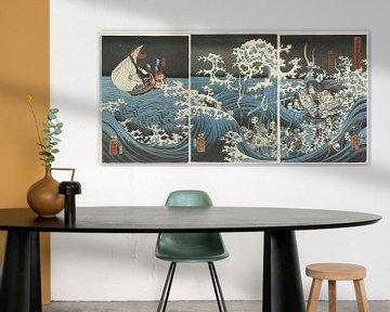 Yoshitsune Siehe den Geist von Taira Tomomori, Utagawa Yoshikazu