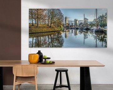 Stadtbild Kanal Leeuwarden gespiegelt von Harrie Muis