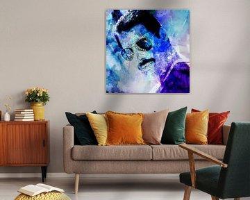 Freddie Mercury Mr. Bad Guy Abstract Portret van Art By Dominic