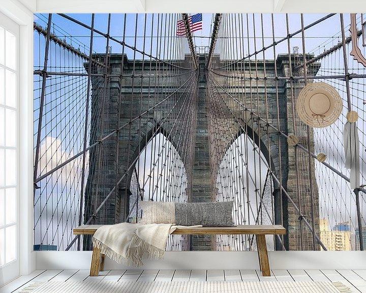 Sfeerimpressie behang: Brooklyn Bridge Manhattan New York city van Martin Albers Photography