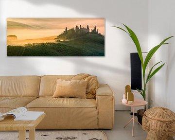 Panorama zonsopkomst bij Belvedere in de Toscane, Italië