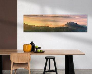 Panorama Zonsopkomst bij Belvedere in Toscane, Italië van Henk Meijer Photography