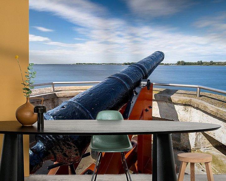 Sfeerimpressie behang: Vesting met historisch VOC kanon van Fotografiecor .nl