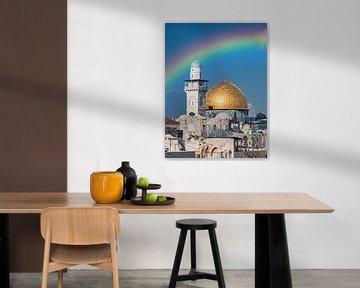 arc-en-ciel sur la place du temple de jérusalem