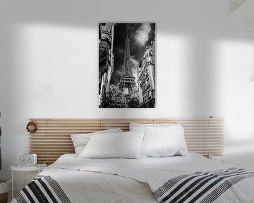 Eiffelturm Paris aus der Allee schwarz-weiß von Martin Albers Photography