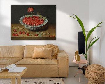 Wilde Erdbeeren und eine Nelke in einer Wan-Li-Schale, Jacob van Hulsdonck
