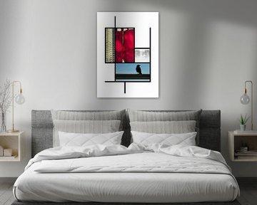 Collage in den Farben von Piet Mondrian von Marianne van der Zee