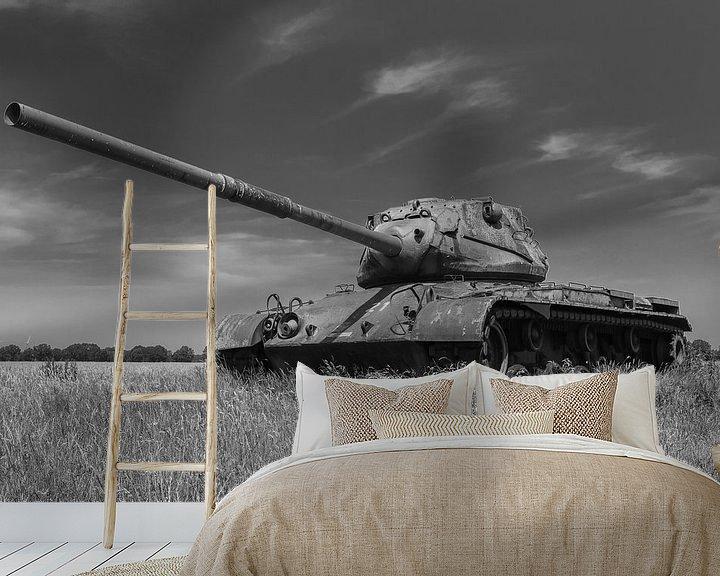 Sfeerimpressie behang: M47 Patton leger tank zwart wit 4 van Martin Albers Photography