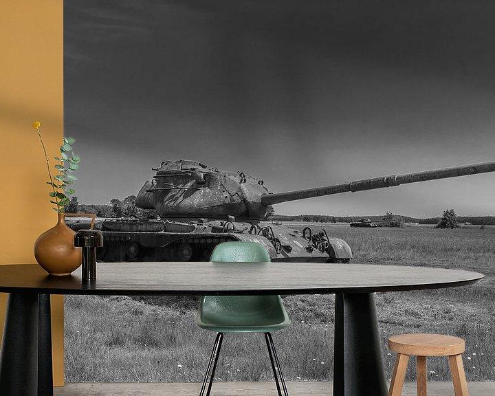 Sfeerimpressie behang: M47 Patton leger tank zwart wit 7 van Martin Albers Photography