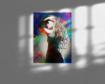 Sexy Vrouw Met Handen In Het Haar van Art By Dominic