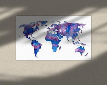 Weltkarte in Aquarell | Lila und Blau von Wereldkaarten.Shop