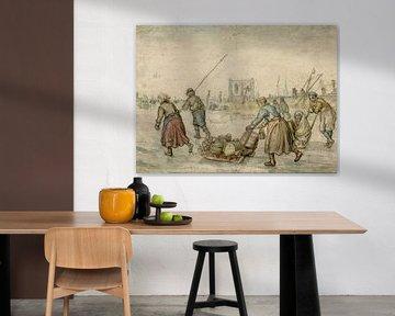 Bauern mit Schlitten auf Eis, Hendrick Avercamp, 1595 - 1634