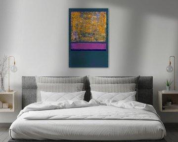 Abstract in oranje, grijs en paars van Rietje Bulthuis