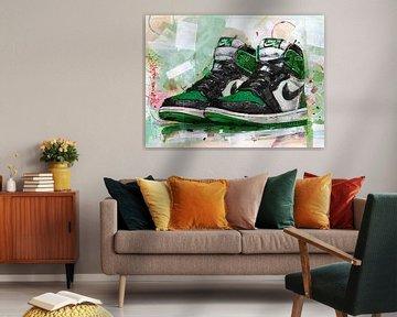 Jordanien 1 Retro High Pine Green (GS) Malerei. von Jos Hoppenbrouwers