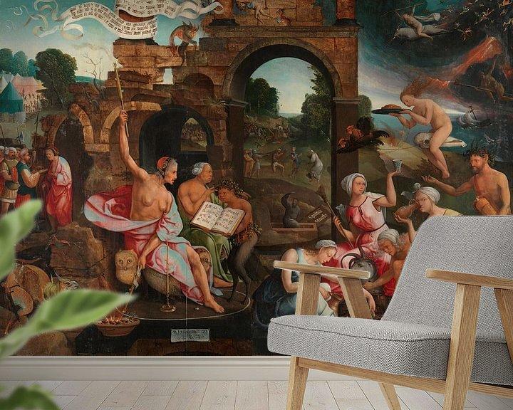 Beispiel fototapete: Saul an der Hexe von Endor, Jacob Cornelisz. von Oostsanen, 1526.