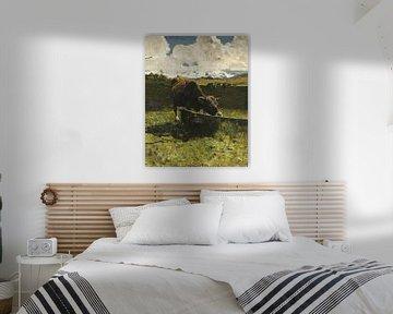 Braune Kuh an der Tränke, Giovanni Segantini