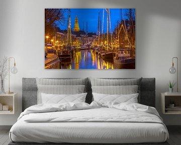 Stadtlandschaft von Groningen mit Segelschiffen von Rudmer Zwerver
