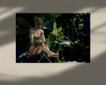 Garden Fairy with Cucumber plant - Tuin Fairy met komkommer-plant
