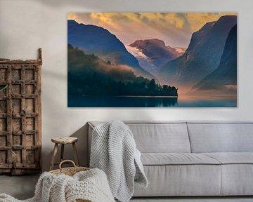 Zonsopkomst Lovatnet, Noorwegen. van Henk Meijer Photography
