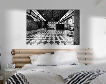 Architektur in schwarz-weiß C-Mine Genk Belgien von Marianne van der Zee