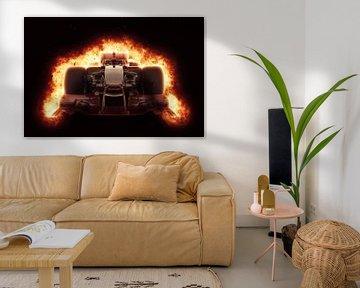 F1 Formel 1 Auto mit speziellem Feuereffekt