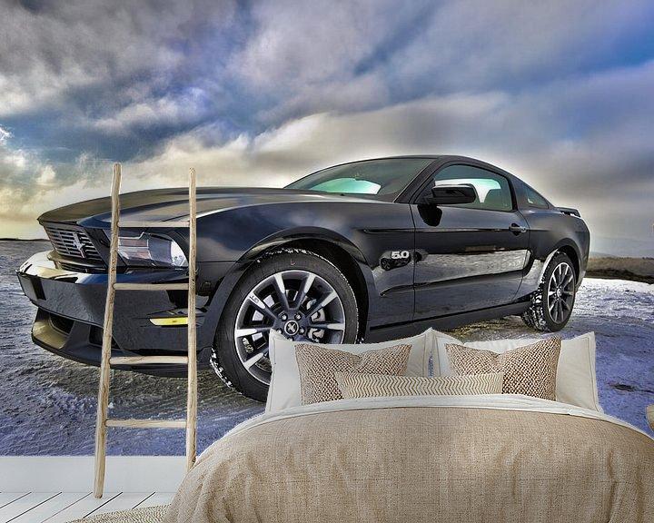 Beispiel fototapete: Ford Mustang sportscar in schwarz von Atelier Liesjes
