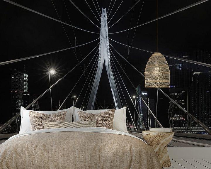 Sfeerimpressie behang: De Erasmusbrug in Rotterdam vanuit een uniek standpunt van MS Fotografie   Marc van der Stelt