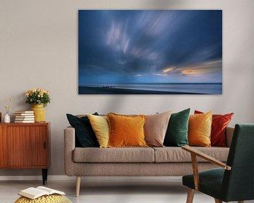 Sonnenuntergang Hokitika Beach, Südinsel, Neuseeland