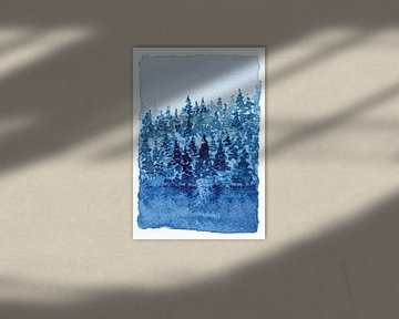 Am Rande des Nadelwaldes | Aquarellmalerei von WatercolorWall