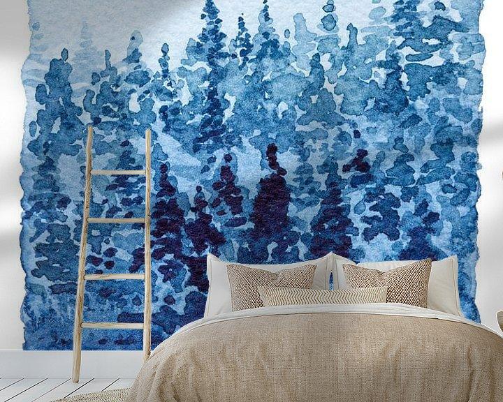 Sfeerimpressie behang: Aan de rand van het Naaldbos | Aquarel schilderij van WatercolorWall