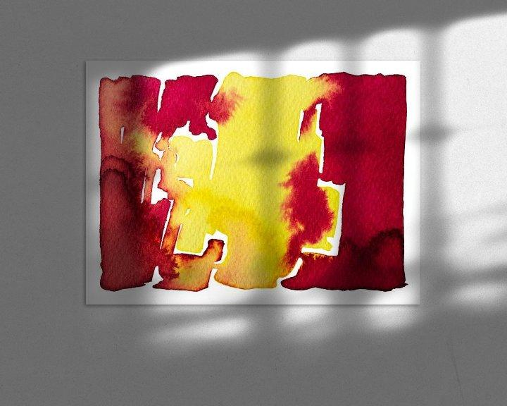 Sfeerimpressie: Neon Rood en Geel | Aquarel schilderij van WatercolorWall