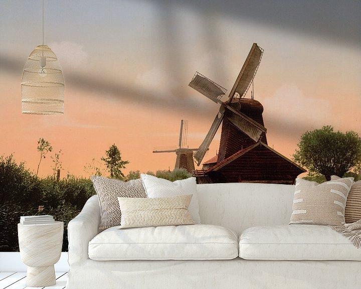 Sfeerimpressie behang: Windmolens op de Noordendijk, Dordrecht van Vintage Afbeeldingen