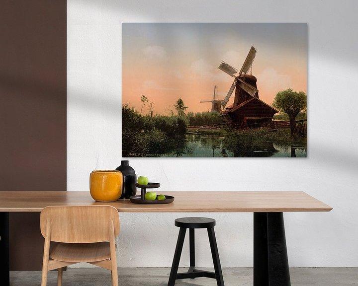 Sfeerimpressie: Windmolens op de Noordendijk, Dordrecht van Vintage Afbeeldingen