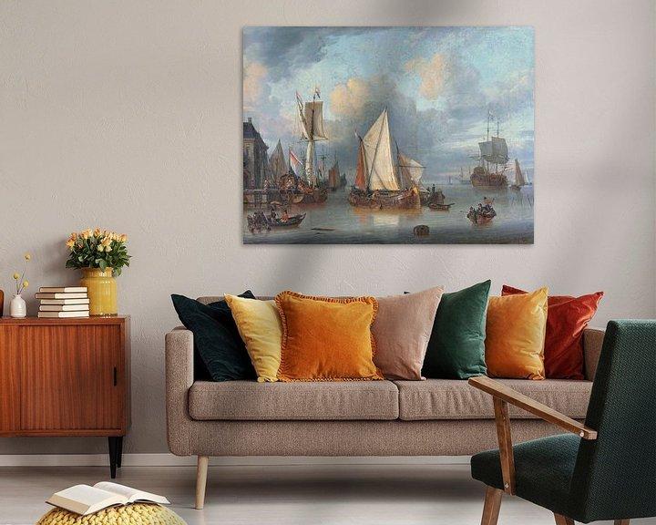 Sfeerimpressie: Schepen in de haven bij rustig weer, Jan Claesz. Rietschoof